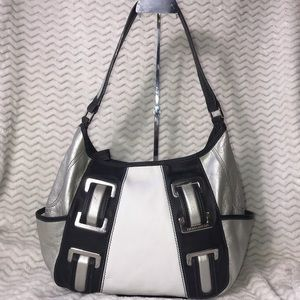 Tignanello large black/white/silver shopper bag